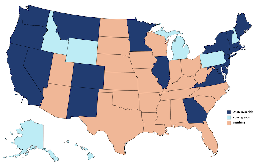 Map of states where Abortion on Demand is available